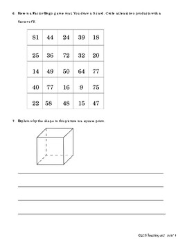 EM4-Everyday Math 4 - Grade 3 Unit 8 Study Guide