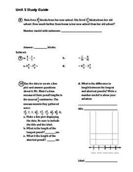 EM4/Everyday Math 4; Grade 4 - Unit 5 Study Guide: Fractions and Mixed Numbers