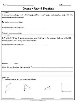 EM4 (Everyday Math 4) Grade 4 Unit 6 Extra Practice