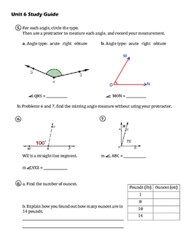EM4/Everyday Math 4; Grade 4 - Unit 6 Study Guide: Division & Angles
