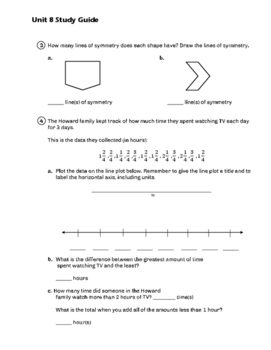 EM4/Everyday Math 4; Grade 4 - Unit 8 Study Guide: Fraction Operations