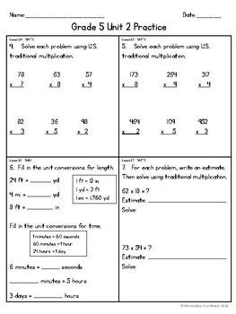 EM4 (Everyday Math 4) Grade 5 Unit 2 Extra Practice