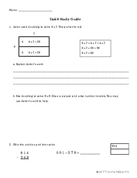EM4-Everyday Math 4 - Grade 3 Unit 6 Study Guide