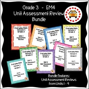 EM4-Everyday Math 4 - Grade 3 Unit Assessment Review Bundle