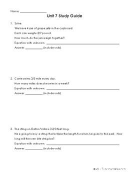 EM4-Everyday Math 4 - Grade 4 Unit 7 Study Guide