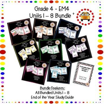 EM4 Everyday Math 4 Grade 4 Units 1 8 Bundles Bundle EOY Assessment Review