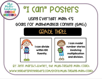 "EM4's Grade 3 Goals for Mathematical Content (GMCs) ""I Can"" Posters"