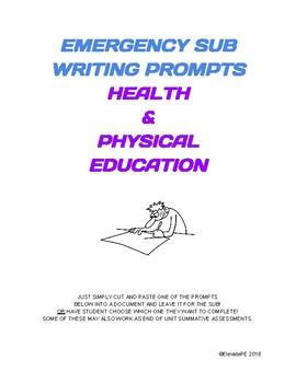 EMERGENCY SUB WRITING PROMPTS - HEALTH & PE