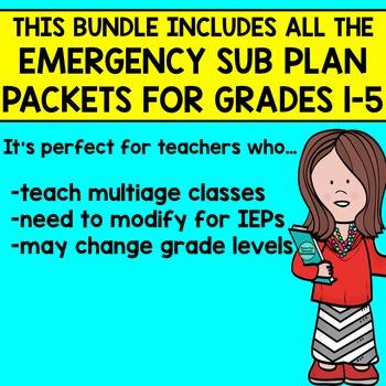 SUB PLANS BUNDLE GR 1-5 for your SUBSTITUTE TEACHER BINDER