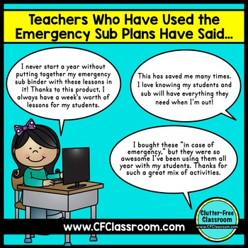 Emergency Sub Plans | Substitute Binder Cover | Substitute Plans | Activities