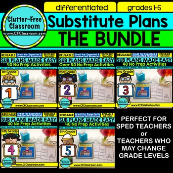 Emergency Sub Plans | Substitute Binder Cover | NO PREP