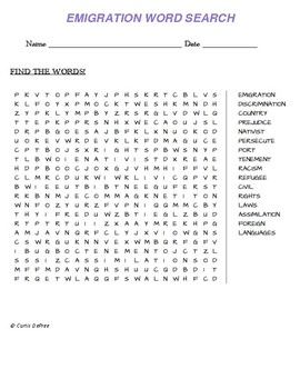 EMIGRATION WORD SEARCH