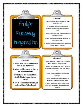 EMILY'S RUNAWAY IMAGINATION by Beverly Cleary * Discussion Cards