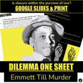 EMMETT TILL DILEMMA ONE SHEET - BLACK HISTORY MONTH - CRITICAL THINKING ACTIVITY