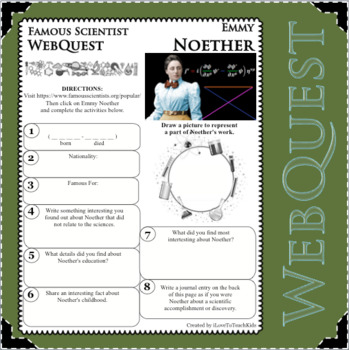 EMMY NOETHER - WebQuest in Science - Famous Scientist - Differentiated