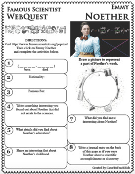 EMMY NOETHER Science WebQuest Scientist Research Project Biography Notes