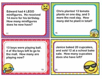 1st Grade Math Problems Task Cards 1-Step Word Problem EMOJI-Common Core Aligned