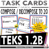 EMOJI 1st Grade Math Problems Task Cards Compose/Decompose 120 -Texas TEKS 1.2B