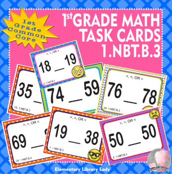 EMOJI 1st Grade Math Problems Task Cards Flash Cards - Common Core 1.NBT.B.3