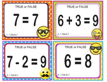 EMOJI 1st Grade Math Problems Task Cards Flash Cards - Common Core 1.OA.D.7
