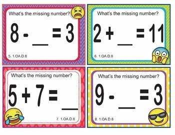 EMOJI 1st Grade Math Problems Task Cards Flash Cards - Common Core 1.OA.D.8