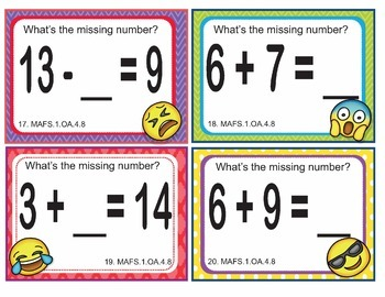 EMOJI 1st Grade Math Problems Task Cards Flash Cards - Florida MAFS.1.OA.4.8