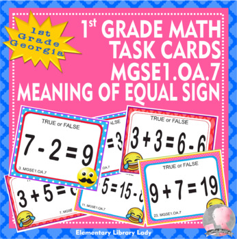 EMOJI 1st Grade Math Problems Task Cards Flash Cards - Georgia MGSE1.OA.7