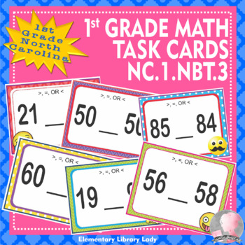 North Carolina Math NC.1.NBT.3 1st Grade Task Cards Compare Two Two-Digit Number