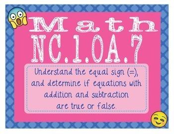 North Carolina Math NC.1.OA.7 1st Grade Task Cards True and False Equations