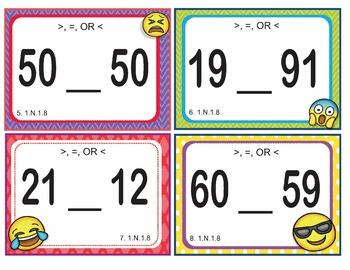 EMOJI 1st Grade Math Problems Task Cards Flash Cards - Oklahoma 1.N.1.8