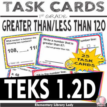 TEKS 1.2D Texas - EMOJI 1st Grade Math Problems Task Cards Greater/Less Than 120