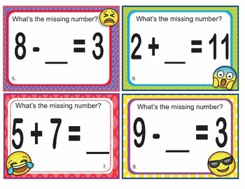 EMOJI 1st Grade Math Problems Task Cards-Missing Number 1-20-Common Core Aligned