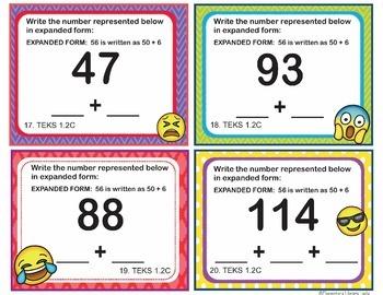 TEKS 1.2C Texas - EMOJI 1st Grade Math Problems Task Cards Standard/Expanded 120