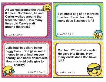 EMOJI 1st Grade Math Problems Task Cards Word Problems - Florida MAFS.1.OA.1.1