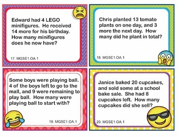 EMOJI 1st Grade Math Problems Task Cards Word Problems - Georgia MGSE1.OA.1