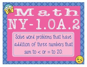 EMOJI 1st Grade Math Problems Task Cards Word Problems - New York NY-1.OA.2