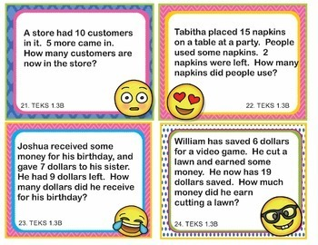 TEKS 1.3B Texas - EMOJI 1st Grade Math Problems Task Cards Word Problems