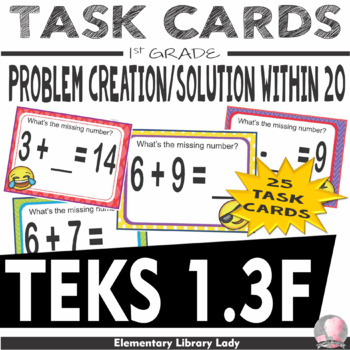 EMOJI 1st Grade Math Problems Task Cards Worksheets - Texas 1.3F