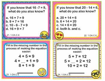 EMOJI 1st Grade Math Task Cards Add Subtract Within 20 - Common Core 1.OA.C.6