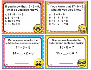 EMOJI 1st Grade Math Task Cards Add Subtract Within 20- Common Core Aligned