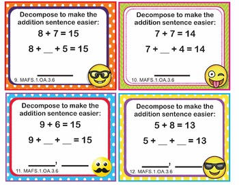 EMOJI 1st Grade Math Task Cards Add Subtract Within 20 - Florida MAFS.1.OA.3.6