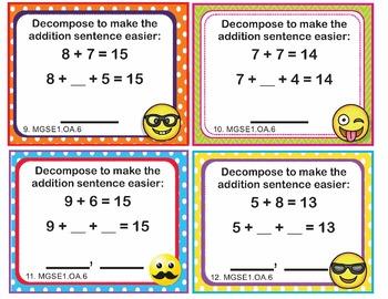 EMOJI 1st Grade Math Task Cards Add Subtract Within 20 - Georgia MGSE1.OA.6