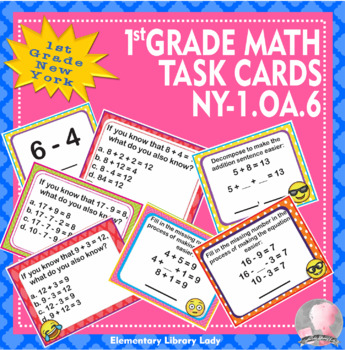 EMOJI 1st Grade Math Task Cards Add Subtract Within 20 - New York NY-1.OA.6