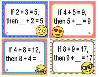 EMOJI 1st Grade Math Task Cards Commutative Associative - Common Core Aligned
