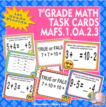 MAFS.1.OA.2.3 Florida - EMOJI 1st Grade Math Task Cards Commutative Associative