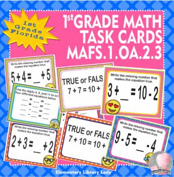 Florida Math MAFS.1.OA.2.3 1st Grade Task Cards Commutative and Associative