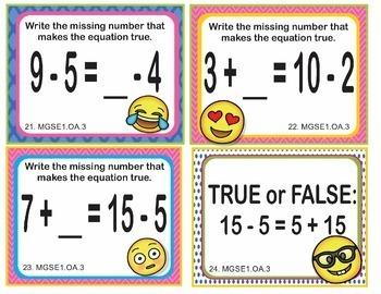 EMOJI 1st Grade Math Task Cards Commutative Associative - Georgia MGSE1.OA.3