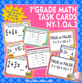 NY-1.OA.3 New York - EMOJI 1st Grade Math Task Cards Commutative Associative
