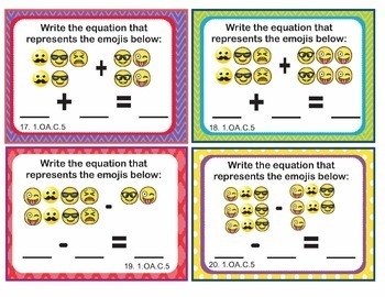 EMOJI 1st Grade Math Task Cards Counting to Add Subtract - Common Core 1.OA.C.5