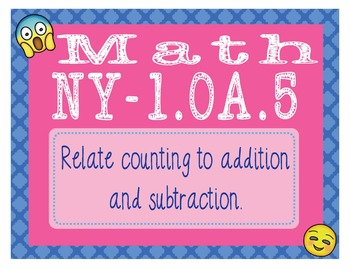 EMOJI 1st Grade Math Task Cards Counting to Add Subtract - New York NY-1.OA.5